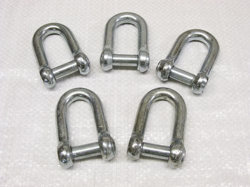 x5 10MM Galvanised Commercial Dee Shackles With Countersunk Pin - Chain Connect Caravan Tether Flush